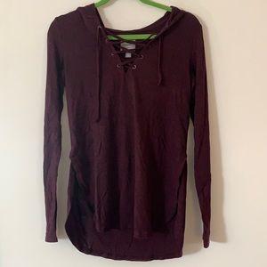 Aerie Purple Hooded Long Sleeve